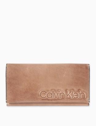 Calvin Klein Burnished Leather Embossed Logo Flap Wallet