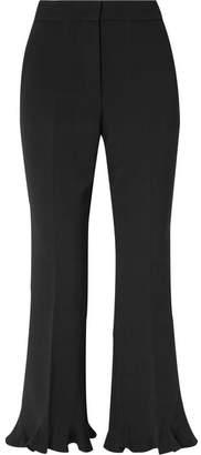 Stella McCartney Cropped Ruffled Wool-blend Flared Pants - Black