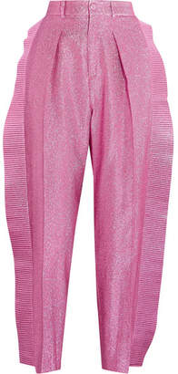 Gucci Ruffled Cropped Metallic Tapered Pants - Pink