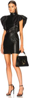 Zeynep Arcay Bold Shoulder Belted Leather Dress