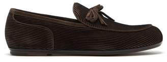 Bottega Veneta Striped Suede Loafers - Mens - Black Multi