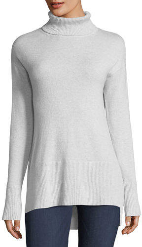 Neiman Marcus Side-Slit Cashmere Turtleneck