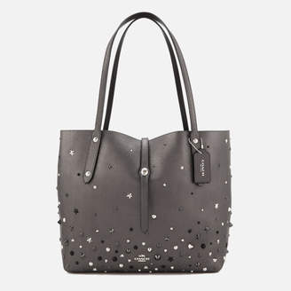 Coach Women's Market Tote Bag in Metallic with Star Rivets - Metallic Graphite