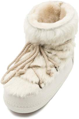 INUIKII Genuine Rabbit Fur & Leather Bootie