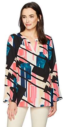 Chaus Women's Flounce Sleeve Abstract Exhibit Blouse