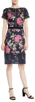 Tadashi Shoji Short-Sleeve Lace & Pleated Floral Cocktail Dress