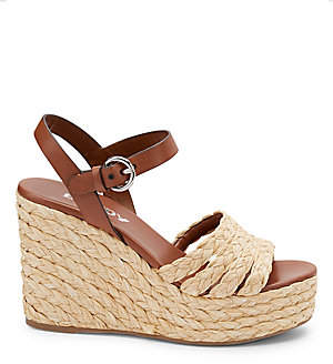 Prada Women's Raffia Espadrille Wedge Sandals