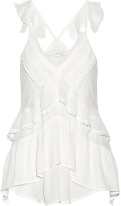 IRO - Chana Lace-trimmed Ruffled Voile Top - White $220 thestylecure.com