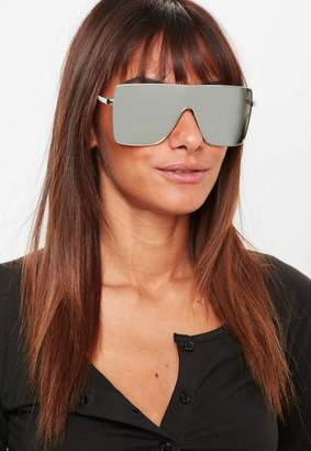 Missguided Silver Large Visor Sunglasses
