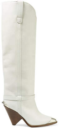 Isabel Marant Lenskee Metal-trimmed Leather Knee Boots - Off-white