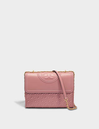 Tory Burch Fleming Convertible Shoulder Bag in Pink Magnolia Lambskin Leather