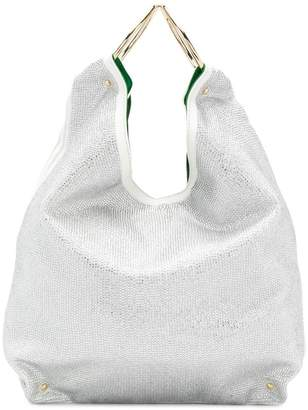 Sara Battaglia embellished bucket tote