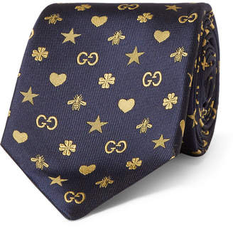 Gucci 7cm Logo-Jacquard Silk Tie - Men - Navy