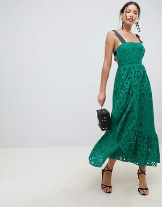 Asos DESIGN Premium Broderie Maxi Dress With Contrast Straps