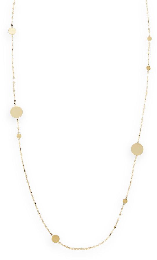 "Lana 14k Gold Long Gold Disc Necklace, 30""L"