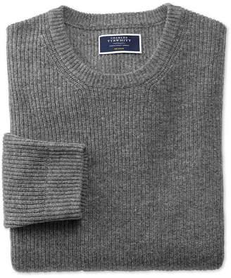 Charles Tyrwhitt Grey Lambswool Rib Crew Neck Sweater Size XXL