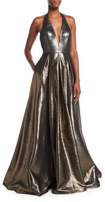 Jovani Plunging Halter Sleeveless Metallic Evening Gown $610 thestylecure.com
