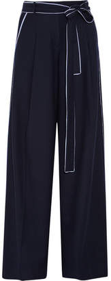 J.Crew - Jitney Wool-blend Flannel Wide-leg Pants - Midnight blue $230 thestylecure.com