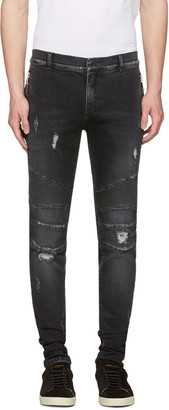 Balmain Black Distressed Slim Jeans $1,035 thestylecure.com