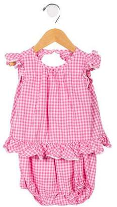Ralph Lauren Girls' Gingham Ruffle-Accented All-In-One