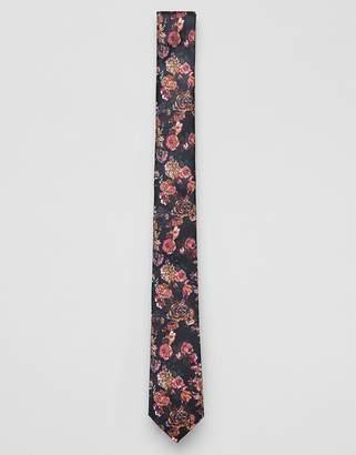 Asos DESIGN slim floral tie in black