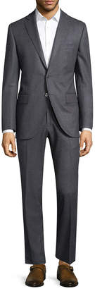 Lubiam Solid Notch Wool Suit