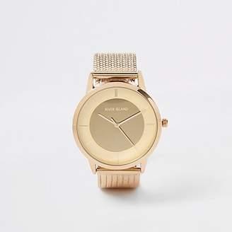River Island Gold colour mesh strap watch