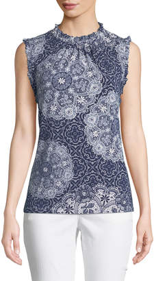 Karl Lagerfeld Paris Mock-Neck Tile-Print Tank