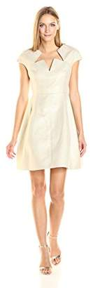 Halston Women's Cap Sleeve Notch Neck Shimmer Cocktail Dress