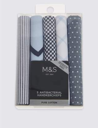 Marks and Spencer 5 Pack Pure Cotton Handkerchiefs with Sanitized Finish®