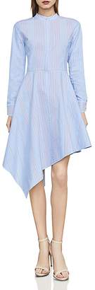 BCBGMAXAZRIA Rayanne Striped Asymmetric Shirt Dress