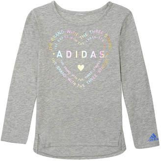 efbbb94d7d54 adidas Girls Crew Neck Long Sleeve Graphic T-Shirt-Preschool