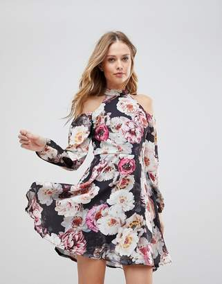 Jessica Wright Cold Shouder Floral Skater Dress