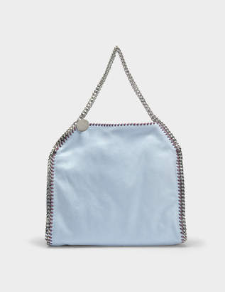 Stella McCartney Shaggy Deer Falabella Small Tote Bag in Duck Blue and Burgundy Eco Leather
