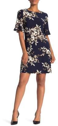Modern American Designer Brushstroke Floral Ruffle Sleeve Sheath Dress