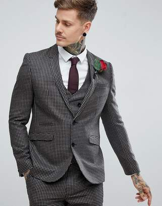 Asos DESIGN Wedding Slim Suit Jacket 100% Wool Houndstooth In Putty