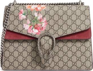 Gucci A Little Bit of Fashion Large Floral GG Supreme Canvas & Suede Shoulder Bag