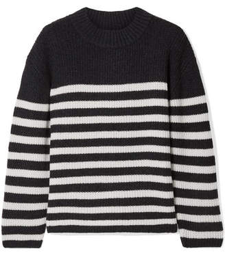 Le Kasha - St Malow Oversized Striped Ribbed Cashmere Sweater - Charcoal