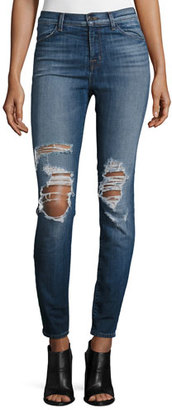 J Brand Maria High-Waist Skinny Jeans, Decoy Destruct $228 thestylecure.com