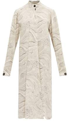 Lemaire Draped Tie Marble Print Silk Dress - Womens - White Black