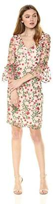 Adrianna Papell Women's Floral Vines Bell Sleeve Dress