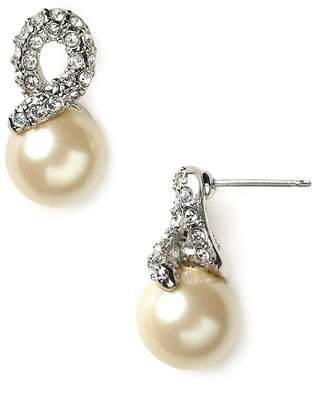 Carolee Elegant Bride Pearl and Pave Earrings