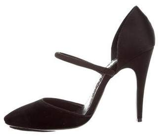 Giorgio Armani Privé Velvet Semi Pointed-Toe Pumps