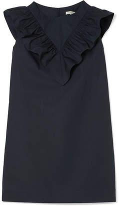 Atlantique Ascoli Vendredi Ruffled Cotton-poplin Mini Dress - Navy