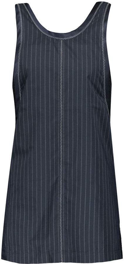 3.1 Phillip Lim 3.1 Phillip Lim Hoosier paneled pinstriped poplin and open-knit tank