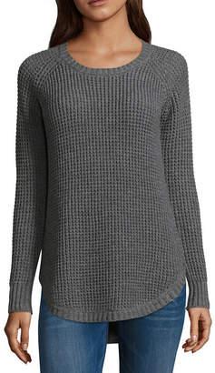 Arizona Long Sleeve Crew Neck Pullover Sweater-Juniors