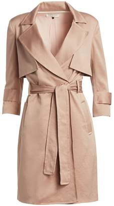 Halston Three-Quarter Sleeve Satin Trench Shirtdress