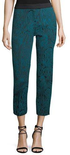 Trina Turk Paisley Jacquard Slim Straight-Leg Pants