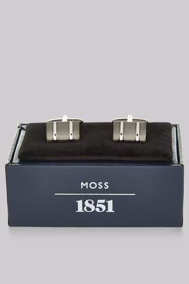 Moss Bros Silver and Gunmetal TwoTone Rectangle Cufflink