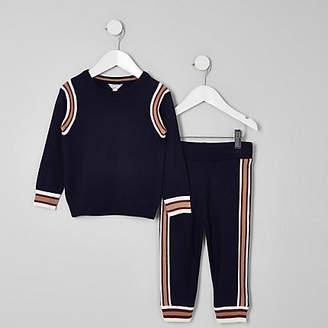 River Island Mini boys navy sweater and joggers outfit